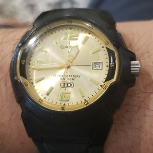 Casio, WM-600,WR100m, quartz watch, yellow dial